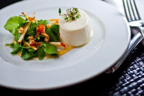 ... watercress, apple and toffee walnuts. Served with white balsamic syrup